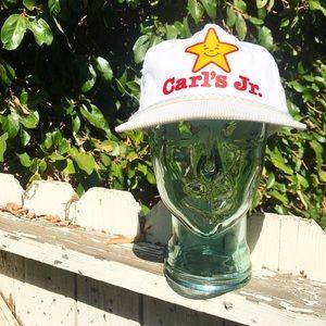 Vtg Carl's Jr. White Corduroy Rope Snapback Hat